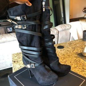 Bebe Strappy Black Boots